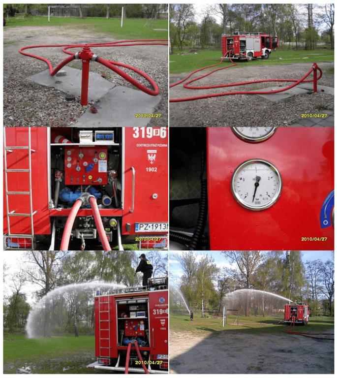 Dawanie wody z wąż strażacki i armatek przy przetłaczanej wodzie.